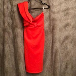 Red off the shoulder formal dress